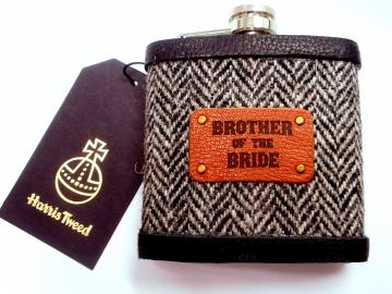 Brother of the Bride Harris Tweed hip flask with leather label, wide choice of tweeds, wedding gift or favour, Made in Scotland by Tweed with a Twist, Scottish rural  theme