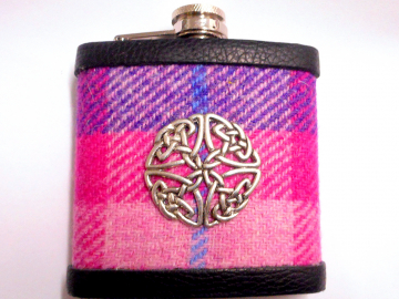 Hip flask in purple and pink Harris Tweed with Celtic knot, Ladies Day at the races, or gift for  christmas , birthday , Valentine's day or  7th anniversary  made in Scotland