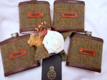 Set of four Harris Tweed flasks with Groomsmen's names