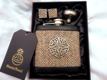 Celtic pewter knot Harris Tweed flask and cufflinks