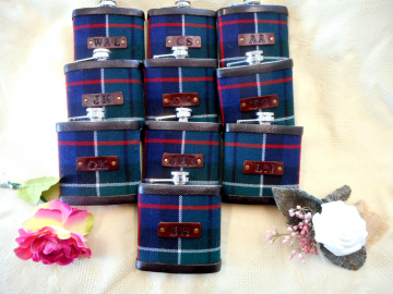 Custom Clan tartan flasks with initials