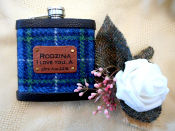 Isle of Harris tartan Harris Tweed flask