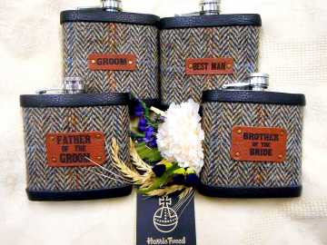 Harris Tweed Flasks in Autumn Harvest with etched leather labels