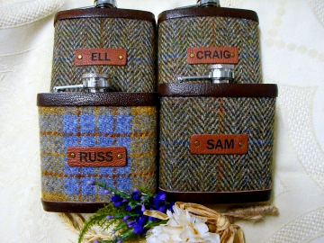Harris Tweed flasks with names for the Groomsmen