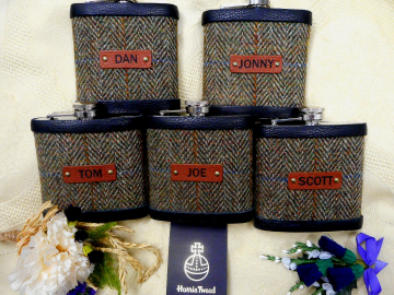 Another set of Mossy Glade Olive green Harris Tweed flasks
