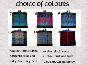 Harris Tweed hip flask in choice of  30 patterns and colours with Orb label handmade in Scotland using handwoven tweed and real leather trim