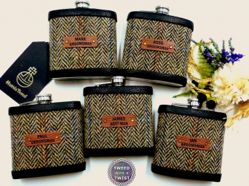 Harris Tweed Hip flasks autumn harvest. With name and role.