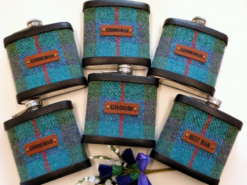 Harris Tweed Hip Flasks with standard leather labels in sets of 3-6 for Best Man, Usher, Father of Bride or groomsmen, etc. Scottish luxury gift