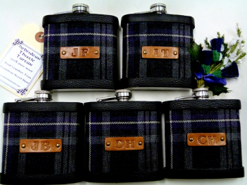 Hebridean Thistle tartan flasks with hand embossed leather initials