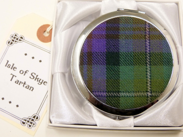 Compact mirror Isle of Skye tartan, womens little gift for mother, sister, best friend made in Scotland by Tweed with a Twist