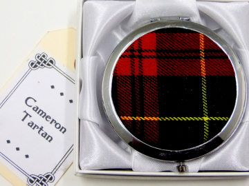 Cameron tartan compact mirror, womens little gift for mother, sister, best friend made in Scotland by Tweed with a Twist