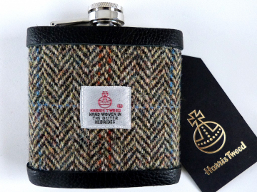 Harris Tweed hip flask with traditional brown beige blue herringbone mens gift for retirement best man usher groomsman or birthday made in Scotland