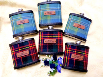 Your Wedding kilt tartan Hip Flasks  with leather labels personalized with names  for Best Man, Usher, Father of Bride or groomsmen, .Scottish luxury gift