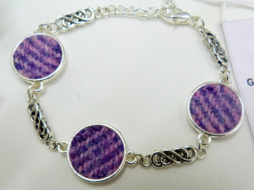 Lilac and pink Harris Tweed bracelet with celtic infinity knots made in Scotland , Christmas or birthday gift womens or bridesmaid jewellery
