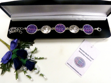 Bracelet with celtic spiral in Purple and pink Kaona Harris Tweed womens jewellery gift for mother, bridesmaid  or christmas present