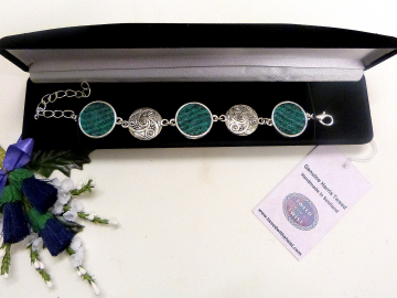 Bracelet with celtic spiral in jade green and grey Harris Tweed womens jewellery gift for mother, bridesmaid  or christmas present