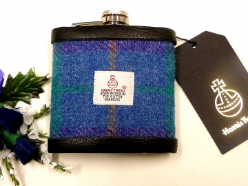 Harris Tweed hip flask in sky blue, purple and jade plaid