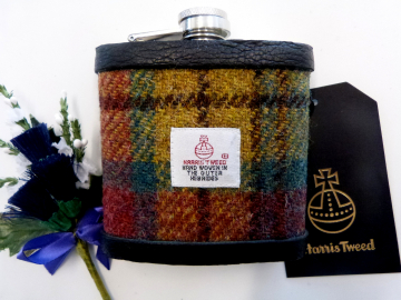 Harris Tweed hip flask Ancient weathered Buchanan colours, yellow green and rose red plaid  made in scotland