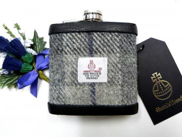 Harris Tweed hip flask in in silver grey, dark grey with blue detail plaid