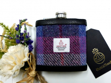 Harris Tweed hip flask in rich purple, red, pink and blue plaid weave