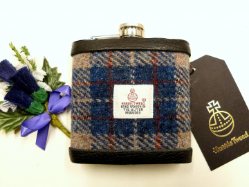 Harris Tweed hip flask in beige, deep blue, burgundy red traditional plaid weave