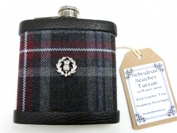 Tartan hip flask with thistle in Hebridean Heather  Scottish gift for men made in scotland retirement,  best man, groomsman , or Christmas present present