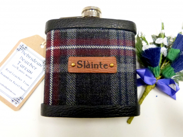 Tartan hip flask Hebridean Heather  with Gaelic Slainte, Slainte Mhath or Uisge Beatha Scottish gift for men made in scotland retirement,  best man, groomsman , or Christmas present present