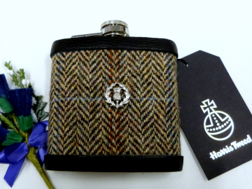 Autumn Harvest Harris Tweed hip flask with Scottish thistle