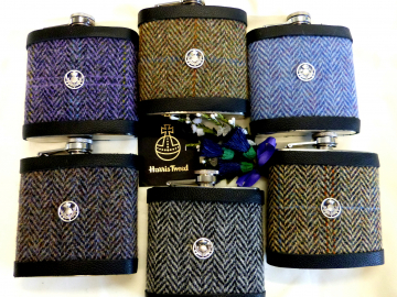 Harris Tweed Hip Flask traditional Herringbone weave with thistle chose colour Scottish gift