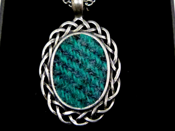 Harris Tweed necklace in hand cast pewter celtic pendant setting , womens jewellery in choice of colours,  Christmas or birthday gift