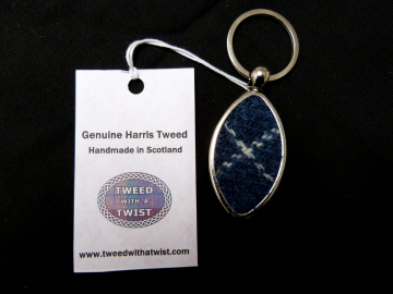 Harris Tweed Scotland Rugby keyring key fob keyring in box, small gift for men with Scottish saltire flag