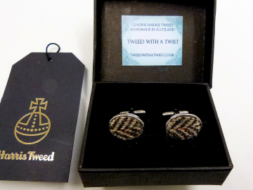 Harris Tweed cuff links brown and cream herringbone made in Scotland  ideal cufflinks for weddings , Best Man or groomsman gift for men