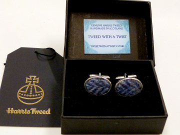 Harris Tweed cuff links blue herringbone made in Scotland  ideal cufflinks for weddings , Best Man or groomsman gift for men