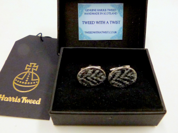 Grey Herringbone Harris Tweed cuff links made in Scotland  ideal cufflinks for weddings , Best Man or groomsman gift for men