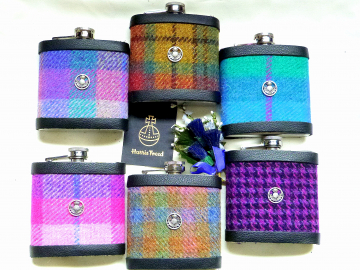 Harris Tweed hip flask with thistle, engraved names, in choice of  30 patterns and colours handmade in Scotland using handwoven tweed and real leather trim