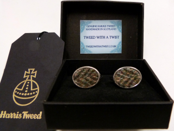 Traditional Olive green / brown Herringbone Harris Tweed cuff links made in Scotland  ideal cufflinks for weddings , Best Man or groomsman gift for men