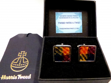 Buchanan Tartan Harris Tweed cuff links made in Scotland  ideal cufflinks for weddings , Best Man or groomsman gift for men