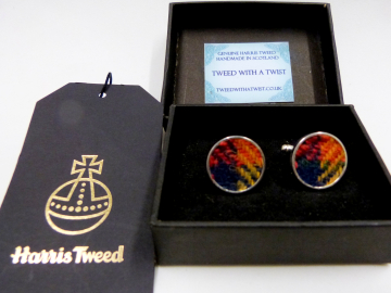 Round Buchanan Tartan Harris Tweed cuff links made in Scotland  ideal cufflinks for weddings , Best Man or groomsman gift for men