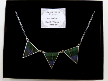 Isle of Skye tartan / Black Watch tartan reversible necklace, Made in Scotland, Scottish gift for her