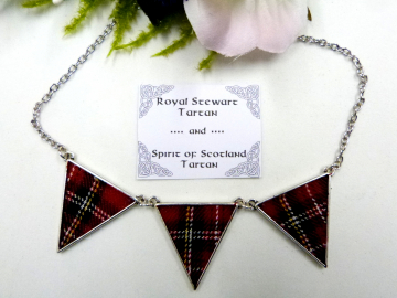 Royal Stewart tartan / Spirit of Scotland tartan reversible necklace, Made in Scotland, Scottish gift for her