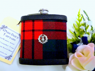 Your family or clan Tartan hip flask with thistle Scottish gift made in Scotland  ideal for retirement,  birthday , or Fathers Day present