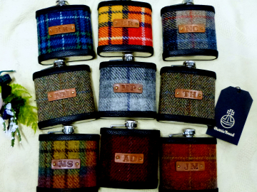 Harris Tweed  Hip Flasks  with initials embossed on leather labels for Best Man,  Father of Bride or groomsmen, Scottish luxury gift sets of 3-6
