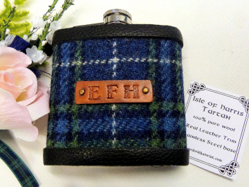 Harris Tweed flask in Isle of Harris tartan with hand embossed initials
