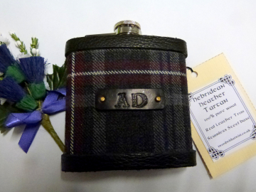 Tartan hip flask with embossed initials in Hebridean Heather  Personalised gift for men made in scotland retirement,  best man, groomsman , or Fathers Day present