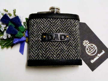 Harris Tweed hip flask with hand embossed leather label gift for Dad, Father's Day, birthday, Christmas.