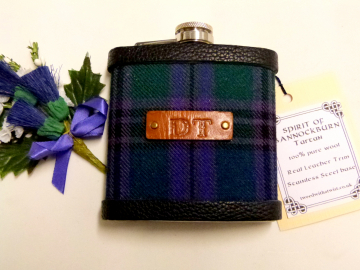 Spirit of Bannockburn Tartan flask with initials hand embossed on leather