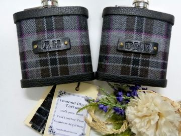 Lomond Mist tartan flasks with embossed black leather initials
