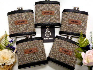 Personalised Groomsman gifts  Harris Tweed hip flasks with individual names on leather labels Scottish luxury gift for wedding  Best Man, Usher, Father of Bride or groom, choice of tweeds.