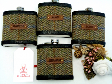 Olive green herringbone Harris Tweed flasks with names