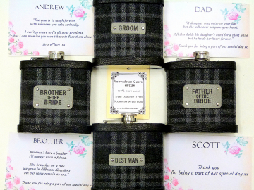 Hebridean Cairn Tartan flasks to match wedding kilts